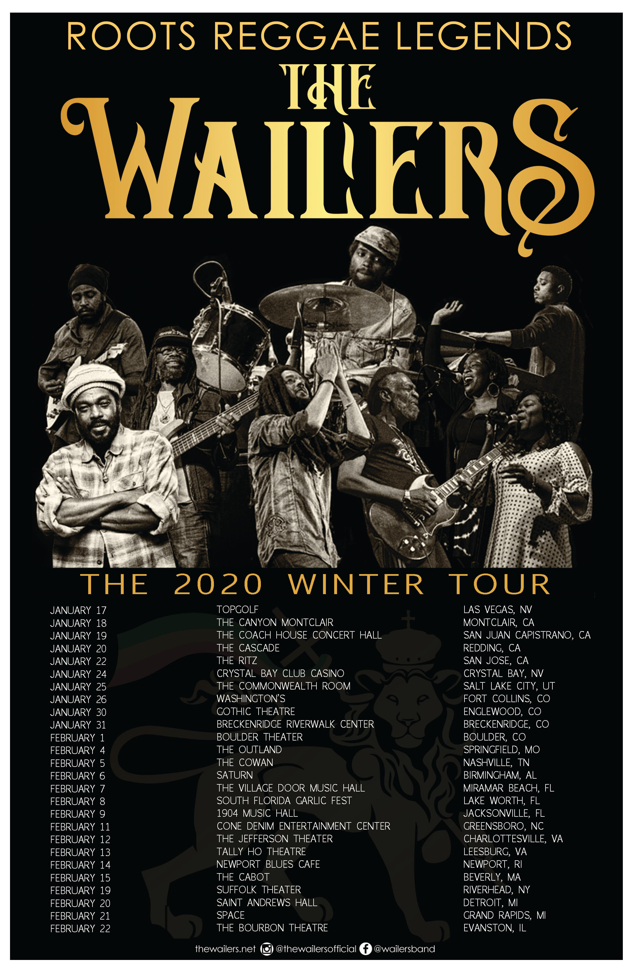 The Wailers 2020 US Winter Tour